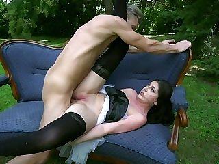 Beside yard anal romance for slutty Miranda Miller