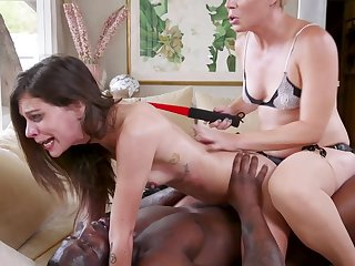 Kacie Castle pounded by a black dick while abused by Helena Locke