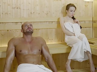 Russian gal with braided hair and large mammories got drilled in the sauna, until she came