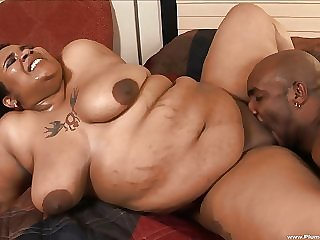 Fat ebony babe Kitten B enjoys a swollen cock up will not hear of hole