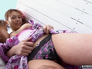 Kimono girl gets her wet pussy fingered in public