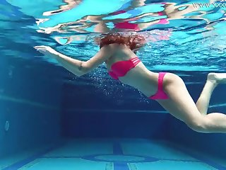 Uber-Cute gal, Tiffany Tatum went swimming with Masturbate and milked next to the swimming pool