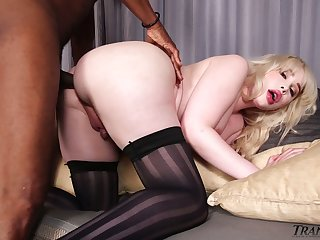 Quite buxom pale ladyboy with big booty Sarina Valentina loves sucking BBC
