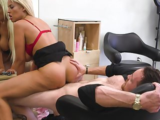 Cougar fucks at the hair saloon and gets jizzed on ass