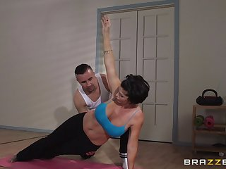 Mature woman Shay Fox does yoga and gets fucked in her asshole