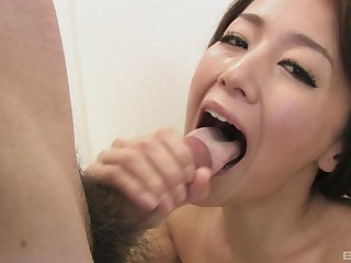 Stunning display with a Japanese wife taking cock in POV