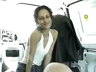This whore is so kind and sweet to suck her lover's dick in his car