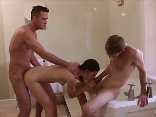 Misha bathes before letting two blokes bone her pristine body
