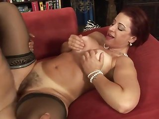 Hot Redhead Hairy Milf Big Boobs Fucked And Creampied