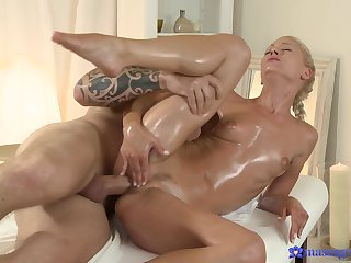 Erotic massage leads to hard sex for the hot blonde