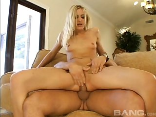 Blonde wife Angel Long loves being choked during deep anal sex