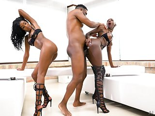 Black women fucked and jizzed in insane threesome