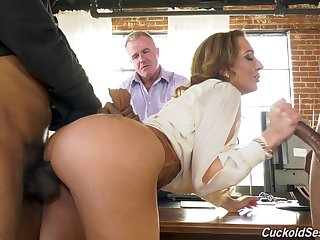 Dude watches his curvaceous wife being fucked by two big dicked black men