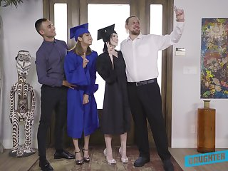 Hardcore foursome sex with graduate students Remi Jones and her best girlfriend
