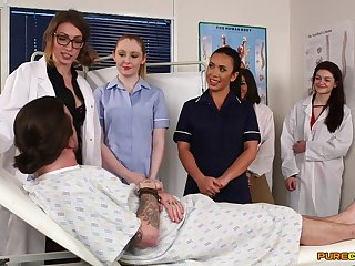 Aroused nurses in the hospital ready for a one time cFNM orgy