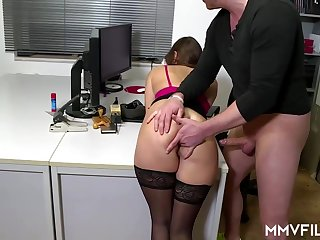 Sultry office nymph is frequently wearing ebony pantyhose and getting analed rigid, while at work