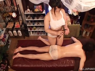 Lucky man gets his dick pleasured by oiled Japanese Kanno Sayuki