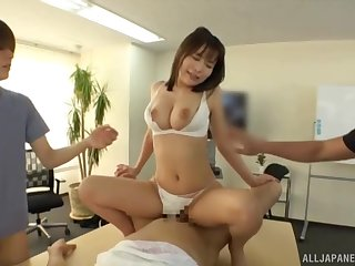 Japanese with big tits, first group sex on cam for her