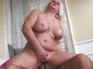 Well-built stallion fucks curvy blond mature in hot poses